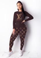 sıkı takım elbiseli pantolon toptan satış-Yarım Yüksek yaka Uzun baskı 2019 Kadınlar 2 Adet Set Harf Sıkı pantolon Eşofman seksi bayan spor Brown uyacak Suit kısa Tops kollu