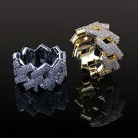 ingrosso zingara d'oro-New Fashion Diamond Ring Uomo Gioielli Hip Hop Bling CZ Pietra ghiacciata 18 carati placcato oro oro Anelli Hiphop