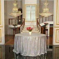 eventos de rosa casamento venda por atacado-Rodada de lantejoulas rosa de ouro cobertura de pano de mesa de casamento evento banquete festa de natal decoração
