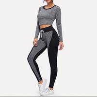 sportkleidung mode femme groihandel-Frauen sportbekleidung Mode Langarm Splice Schnürung Rundhals Casual Hosen Tops Set anzug sport frauen femme T #