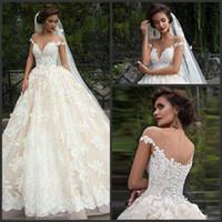 Wholesale champagne wedding dresses lebanon resale online - Elegant White Lace Ball Gown Wedding Dress New Jewel Neck Off Shoulder Princess Lebanon Illusion Arab Bridal Dress Vestidos De Mariee