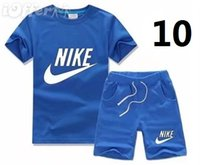 Wholesale baby baseball sleeves resale online - HOT SELL New Style Children s Clothing For Boys And Girls Sports Suit Baby Infant Short Sleeve Clothes Kids Set Age B03