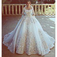 Wholesale wedding dresses scoop neckline lace for sale - Luxurious Dubai Wedding Dresses D Appliques Long Sleeves Bridal Gowns Scoop Neckline Wedding Vestidos Custom Made