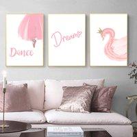 tanz wand leinwand großhandel-3 stücke Süße Nordic Rosa Mädchen Tanzen Traum Zitate Schwan Wandkunst Leinwand Malerei Cartoon Poster und Drucke Kindergarten Wandbilder für Kinderzimmer