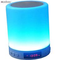 drahtlose nachttischlampe großhandel-ZZYD Mini Smart Pat Light Clock Wecker Bunte Nachtlicht Nachttischlampe Drahtlose Bluetooth Lautsprecher MP3 Stimmungslichter Für Alle Smart Phone