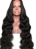 cuerpo brasileño flequillo de onda al por mayor-Peluca 100% brasileña del pelo humano del cordón completo de la onda del cuerpo con los pelucas pelucas delanteras del cordón con los pliegues completos sin cola