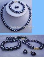 ювелирные изделия diy pearl wedding оптовых-8-9мм черный жемчужное ожерелье браслет серьги комплект DIY ручной работы женские ювелирные изделия