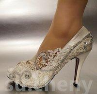 elfenbein seide brautschuhe großhandel-Frauen Mode Perle Elfenbein Größe 41 42 Seide Spitze Peep Toe Kristall Hochzeit Brautschuhe Frauen Schuhe