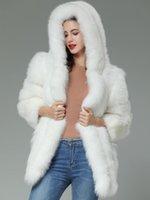 weißer pelz hoodie großhandel-Benutzerdefinierte echte weiße Fuchspelz vertikale Streifen Patchwork Leder Streifen Hoodie Mantel Outwear lange Jacke Winter Parka Frauen Trenchcoat