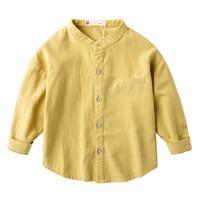camisa do colar do mandarino dos meninos do bebê venda por atacado-Meninos camisas mangas compridas 3 Cotton 4 Baby Baby Shirts decoração Falso boca gola mandarim 5 Dia de crianças velhos