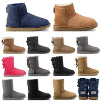 Wholesale womens winter boots knee resale online - New WGG fashion designer women ankle winter Australia boots chestnut tall Bailey Bowknot womens work snow over the knee thigh high fur boot