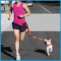 freie leine groihandel-Einstellbare Hände Freilauf Tasche Walking Jogging Hund Taille Leine Traction Pet Seil Kette 6 Farben