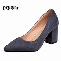 Wholesale d squared shoes online - Shoes women summer pumps woman gladiator pointed toe office ladies chunky square high heels faux suede zapatos mujer