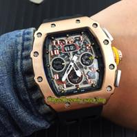 venda esqueleto dos relógios dos homens venda por atacado-Venda especial de alta qualidade RM 11-03RG Skeleton Big Data Dial Japão Miyota automático RM11-03 Mens Watch Rose Gold Case relógios de borracha do esporte