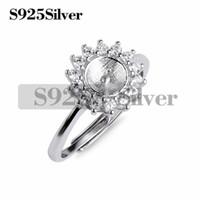 configurações do anel de prata em branco venda por atacado-Pérola Configurações Ring Mount Findings 925 Sterling Silver Cubic Zirconia Cercado Ring Blank Base 5 Peças