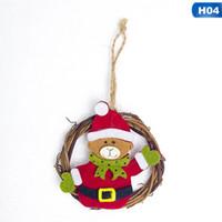 Wholesale snowman christmas tree garland resale online - Christmas Tree Santa Claus Snowman Hanging Ornament Decoration Supply New Rattan Annulus Felt Garland Pendant Christmas Decor