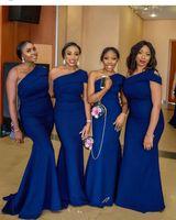 Wholesale red formal bridesmaids dresses online - 2019 Royal Blue New Long Mermaid Bridesmaid Dresses One Shoulder Satin Formal Wedding Guest Dress Robe d invité de mariage vestidos