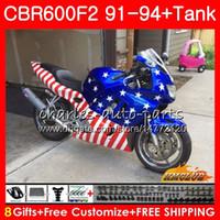 honda bayrakları toptan satış-Honda CBR 600F2 CBR600FS CBR 600 FS F2 91 92 93 94 40HC.146 600cc CBR600 F2 CBR600F2 1991 1992 1993 1994 Fairing üst ABD bayrak için, gövde + Tank