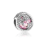 bolas de engaste al por mayor-Cristal rosado con perlas de crisantemo bonitas de plata rollo de impresión agujero grande perlas para la joyería de la cadena de la serpiente DIY Beads Q29