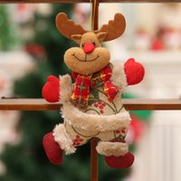 Wholesale big santa claus doll resale online - Novelty Gift Ornaments Santa Claus Snowman Tree Novelty Merry Christmas Toy Hang Deer Bear Small Doll Decorations Christmas Window Scene