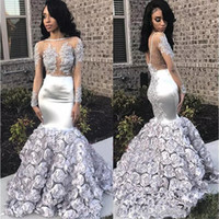 Wholesale black white long sleeve flower dress for sale – plus size Gorgeous Rose Flowers Mermaid Prom Dresses Appliques Beads Sheer Long Sleeve Evening Gown Silver Stretchy Satin robes de soirée
