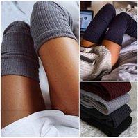 seksi uzun kış çorapları toptan satış-Diz Çorap Üzeri Bayanlar için Seksi Sıcak Uzun Pamuk Çorap Üzeri Diz Çorap Kadınlar Kış Diz Yüksek Uyluk Örme çorap yd010