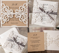 Wholesale 2019 European Classic White Laser Cut Wedding Invites With Blank or Customized Inner Shee by DHL