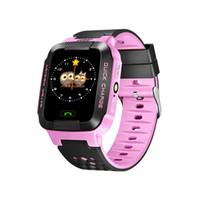 lanterna para telefone venda por atacado-Y21 crianças gps smart watch anti-lost lanterna do bebê relógio de pulso inteligente chamada sos localização dispositivo rastreador kid safe vs Q528 q750 q100 dz09 u8