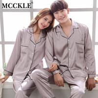 pijama de inverno venda por atacado-MCCKLE Unisex Plus Size Turn Down Collar Conjuntos de Pijama De Cetim Sólido 2018 Outono Inverno Amante Sleepwear Casuais Homewear Casal