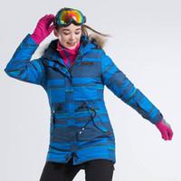 Wholesale women s snow ski clothing resale online - Blue Stripped Women Ski Jacket Snowboarding Jacket Winter Snow Clothes Female Winter Warm Coat Ropa Nieve Mujer Ski Jackets
