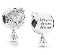 hikaye bilezikleri toptan satış-Yeni Otantik 925 Ayar Gümüş Charm Gökkuşağı Çiçekler Ile Çayır Çiçek Renk Hikayesi Kolye Boncuk Fit Pandora Bilezik Diy Takı