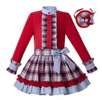 rote flauschige röcke großhandel-Pettigirl herbst mädchen kleider langen ärmeln rotes hemd + plaid flauschigen rock mit stirnband partykleid für mädchen kinderkleidung set g-dmcs206-174