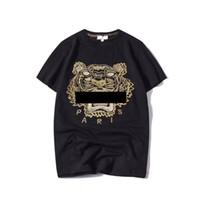 marcas de grife venda por atacado-Verão Designer de Camisas Dos Homens Tops Tiger Cabeça Carta Bordado T Shirt Dos Homens de Roupas de Marca de Manga Curta Tshirt Mulheres Tops S-2XL