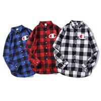 markalı çift gömlek toptan satış-Erkek Tasarımcı Gömlek Lüks Erkek Kadın Marka Gömlek Moda Rahat Ekose Çift Gömlek 2019 Yeni Geliş Erkek Bayan Casual Gömlek Unisex Gömlek
