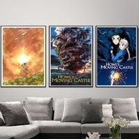 etiquetas do japão para miúdos venda por atacado-Howl's Moving Castle Japão Hayao Miyazaki Anime Pintura Da Lona Do Vintage Kraft Cartazes Revestidos Adesivos de Parede Decoração de Casa Presente Do Miúdo