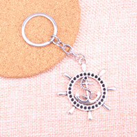 Wholesale anchor rudder keychain for sale - Group buy New Fashion rudder anchor helm KeyChain Handmade Metal Keychain Party Gift Jewellery mm