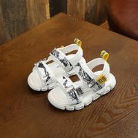 Wholesale tpr sole sandals resale online - New Arrival Children Casual Sandals Summer Boys Sandalias Soft soled Barefoot Beach Kids Shoes White Black Brand Toddler Sandals