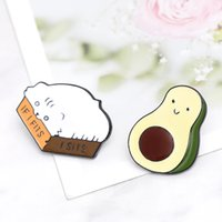 Wholesale turquoise stone buttons for sale - Group buy Cartoon fat Cat Box Avocado Enamel Brooches IF I FITS I SITS Button Pins for clothes Badge Fashion Cute Animal Jewelry Gift for girls kids