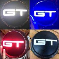 emblèmes led achat en gros de-Livraison gratuite 1 pc New Car Styling 3 Couleur LED Rouge clair Bleu Noir GT Corps Arrière Badge Badge Emblème Autocollant noir blanc, bleu rouge