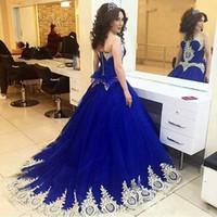 königsblaues süßes herzkleid großhandel-Saudi Arabisch Royal Blue Quinceanera Kleider Sweet Heart Sweep Zug Gold Appliques Prom Party Kleider Für Sweet 15 vestidos de 15 anos 2019