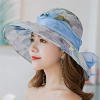 Wholesale hat sunscreen resale online - Hat female new summer Korean version of the bow sunscreen sun hat sunshade collapsible sun hat female