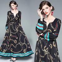 langes abendessen kleidet ärmel großhandel-Langarm V-ausschnitt Gedruckt Womens Dress Prom Abendkleider 2019 Frühling Herbst Maxi Kleid Mode Retro Dinner Dresses
