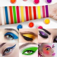 conjunto de brillo de pigmento de sombra de ojos al por mayor-Shimmer Powder Neon Eyeshadow Maquillaje Pigmento de larga duración Nail Glitter Powder Impermeable Polvo Gluorescente Cosméticos