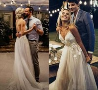 Wholesale romantic simple beach wedding dresses for sale - Group buy 2019 Romantic Bohemian Boho Wedding Dresses Sexy Spaghetti Straps Garden Spring Applique Backless Lace Beach Bridal Gowns