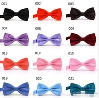 Wholesale wood bow glasses for sale - Group buy quot MIX COLORS12 Men STAIN Solid COLORS Bow Ties Butterfly Gentleman Wedding Party Adjustable Wedding PLAIN Prom boe tie