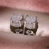 Wholesale cz stud earrings resale online - Unisex Men Women Earrings Studs Yellow White Gold Plated Sparkling CZ Simulated Diamond Earrings For Men Women