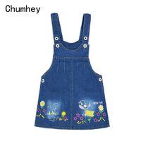 Wholesale baby toddler clothing suspenders resale online - 1 T Baby Sundress Girls Suspender Dress Summer Dress Overalls Kids Denim Jeans Flowers Outfits Toddler Clothing Bebe Outwear
