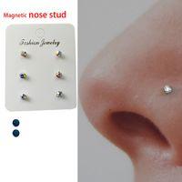 Wholesale tragus labret studs resale online - 6 of Magnetic nose stud non piercing Nose Lip labret Stud magnet tragus helix body jewelry