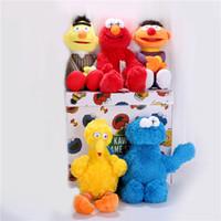 juguetes modelo al por mayor-Venta caliente Sésamo KAWS 5 modelos Peluches ELMO / BIG BIRD / ERNIE / Monster muñecas Animales de peluche de felpa para niños Colección de Juguetes
