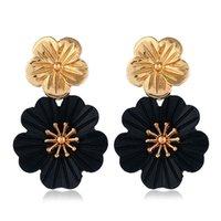 siyah asılı küpeler toptan satış-Kadın Küpe Yeni Siyah Renk Çiçek Küpe Kadınlar Için Bijoux Metal Küpe Moda Takı Zarif Asılı Küpe